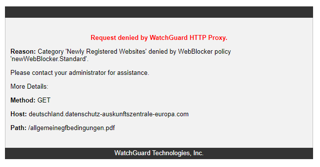 Request denied by WatchGuard HTTP Proxy